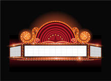 Brightly vector theater glowing retro cinema neon sign. Brightly theater glowing retro cinema neon sign Royalty Free Stock Image