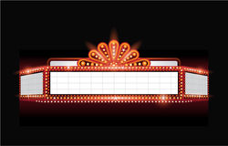 Brightly vector theater glowing retro cinema neon sign. Brightly theater glowing retro cinema neon sign Stock Photography