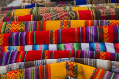 Brightly woven fabrics Royalty Free Stock Images