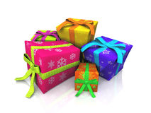 Brightly Wrapped Gifts. Isolated on white Stock Photos