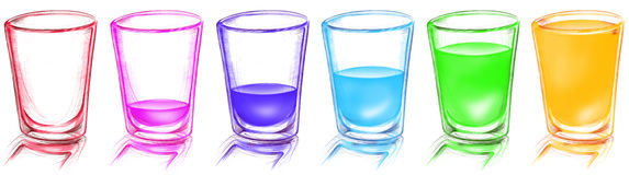 Brightness glass arranged in row Stock Images