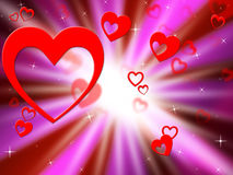 Brightness Hearts Background Shows Lover Partner Or Special Royalty Free Stock Images