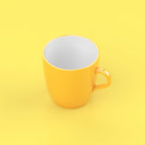 Brightness yellow coffee glass on yellow background. Brightness yellow coffee glass on yellow background minimal pastel idea Royalty Free Stock Photography