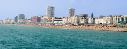 Brighton. Panoramic veiw of Brighton beach Royalty Free Stock Photography