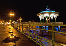 Brighton bandstand by night after rain royalty free stock photos