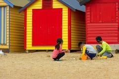 Brighton Bathing Boxes Arkivbilder