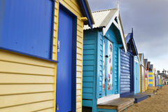 Brighton Bathing Boxes Stockbilder