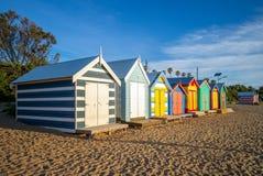 Brighton Bathing Boxes in Melbourne, Australië stock foto