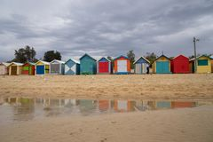 Brighton bathing boxes are a popular Bayside icon and cultural a royalty free stock images