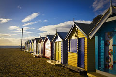 Brighton bathing boxes in a row Royalty Free Stock Image