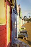 Brighton bathing boxes in a row Royalty Free Stock Photo