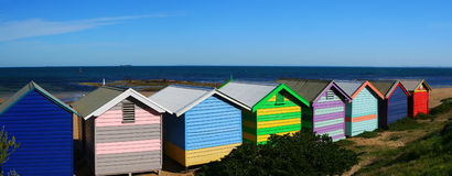 Brighton Beach Bathing Boxes. Colorful bathing boxes at Brighton Beach, Australia, on a clear day royalty free stock photos