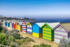 Brighton Beach Bathing Boxes. Melbourne, Australia.  Overlooking Port Phillip Bay Royalty Free Stock Photos