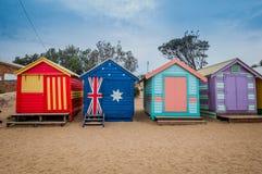 Brighton beach bathing boxes Stock Image