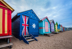 Brighton beach bathing boxes, Melbourne. Royalty Free Stock Photos