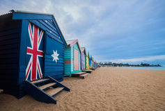 Brighton beach bathing boxes, Melbourne. Brighton beach located in the south of Melbourne. Bathing boxes are the well-known landmark of Brighton beach in Royalty Free Stock Photography
