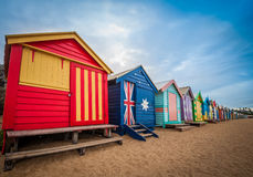 Brighton beach bathing boxes, Melbourne. Royalty Free Stock Photo
