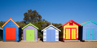 Brighton Beach Bathing Boxes Royalty Free Stock Image
