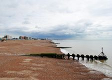 Brighton Beach . British summertime 2015.  Brighton beach is a holiday destination for thousands of tourists each year. 2015 has been a bit of a washout Royalty Free Stock Photos