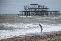 Brighton beach, a girl and the old pier. Stock Photography