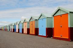 Brighton Beach and Pier. Beach Huts Royalty Free Stock Image