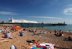 Brighton Beach and Pier in summer Stock Image