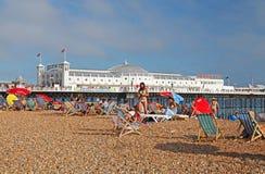 Brighton Beach and Pier in summer Stock Photos