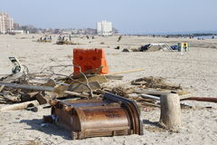 Brighton Beach post Sandy. Brighton beach in Brooklyn New York still full of debris two weeks after hurricane Sandy Stock Photos