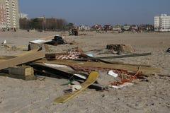 Brighton Beach post Sandy. Brighton beach in Brooklyn New York still full of debris two weeks after hurricane Sandy Royalty Free Stock Photos
