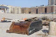 Brighton Beach post Sandy. Brighton beach in Brooklyn New York still full of debris two weeks after hurricane Sandy Royalty Free Stock Images