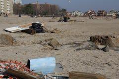 Brighton Beach post Sandy. Brighton beach in Brooklyn New York still full of debris two weeks after hurricane Sandy Royalty Free Stock Photo
