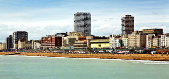 Brighton beach. Beach and skyline of the city of Brighton, a popular tourist resort on the southern seacoast of Great Britain stock photography