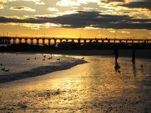 Brighton Beach solnedgång Fotografering för Bildbyråer