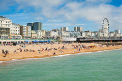 Brighton beach. On sunny day. August 2014, England Royalty Free Stock Photography