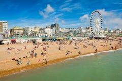 Brighton beach. On sunny day. August 2014, England Royalty Free Stock Photo
