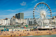 Brighton beach. On sunny day. August 2014, England Royalty Free Stock Images