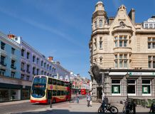 Brighton city scene with Double Decker buses East Sussex Souther Royalty Free Stock Photos