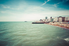 Brighton coast panorama Royalty Free Stock Photo