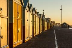 Brighton colorful beach hut beach house along the coast of Brighton Pier. Royalty Free Stock Photo