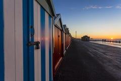 Brighton colorful beach hut beach house along the coast of Brighton Pier. Royalty Free Stock Image