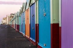 Brighton colorful beach hut beach house along the coast of Brighton Pier. Stock Image