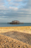 Brighton east pier england. Brighton burned down west pier. sussex pebble beach with groyne in foreground Stock Photography
