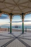 BRIGHTON, EAST SUSSEX/UK - JANUARY 26 : View of the derelict West Pier from a Bandstand in Brighton East Sussex on January royalty free stock image