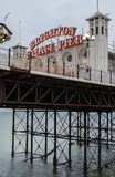 Photograph of Palace Pier, showing the illuminated sign. Brighton, East Sussex UK royalty free stock images