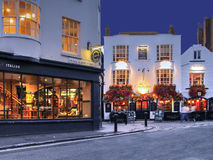 Brighton, England. Night street scene including The Cricketers famous pub Royalty Free Stock Images