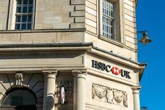 Brighton, England-6 October,2018: HSBC Bank sign in the entrance of the HSBC bank branch office in the city town of Brighton, UK. With beautiful old vintage royalty free stock images
