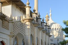 Brighton, England: Winder Sun On The Pavilion. Blue Sky Stock Photo