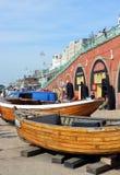 Brighton Fishing Museum boats on Brighton Beach. Stock Photos