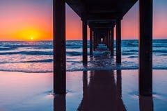 Brighton Jetty au coucher du soleil, Australie du sud Images libres de droits