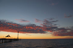 Brighton Landscape. A panoramic view from Brighton Beach, Adelaide, South Australia. The jetty, a landmark, is visible in the bottom left stock image